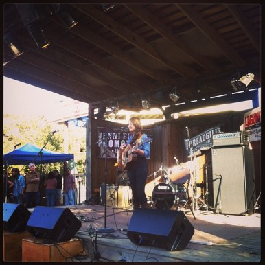 "Here I am on stage performing ""To Live's To Fly"" and ""Pancho and Lefty"". Thanks to miss Emma Swift for this photo! It was a beautiful day."