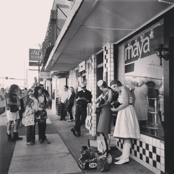 From where I was seeing it, Friday on South Congress was full of incredible FREE shows, free beer, amazing food, and some pretty laid back and fun folks. Here are a couple of gals busking on the street.