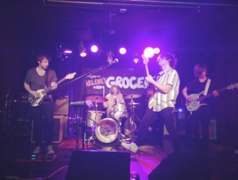 Hitting the stage at Arlenes Grocery in NYC