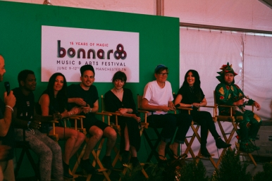 Shamir, Amanda Shires, Elena and Igor of Daughter, Brett Dennen, Aubrie Sellers and Piff The Magic Dragon on the media panel
